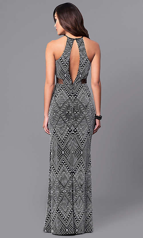 Image of long tribal-print prom dress in black and white.  Style: DMO-J315236 Back Image