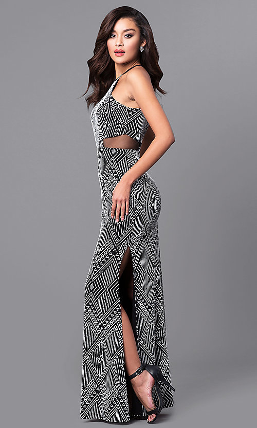 Image of long tribal-print prom dress in black and white.  Style: DMO-J315236 Front Image