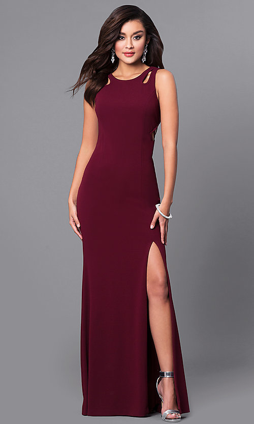 Image of cut-out burgundy red long prom dress with side slit. Style: DMO-J315496 Front Image
