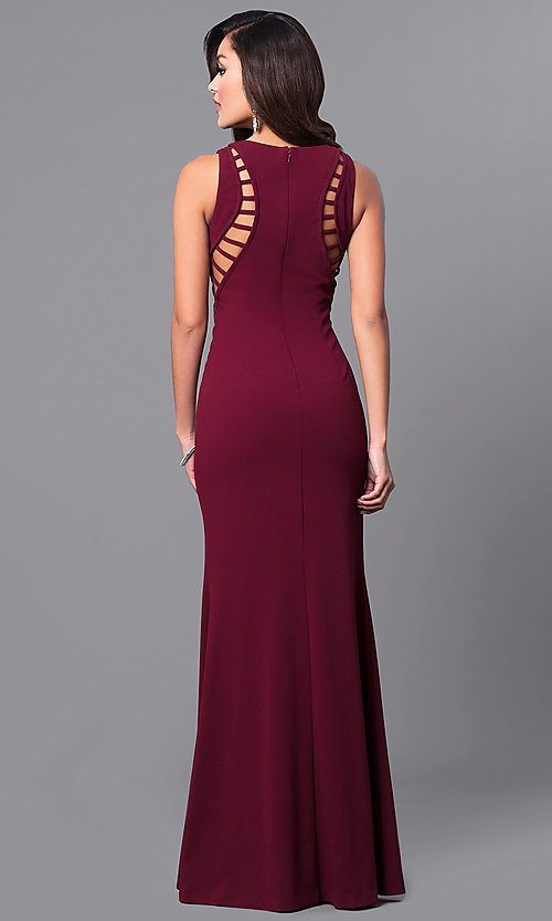 Image of cut-out burgundy red long prom dress with side slit. Style: DMO-J315496 Back Image