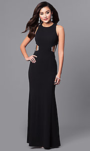 Long Black Junior Prom Dress with Jeweled Straps
