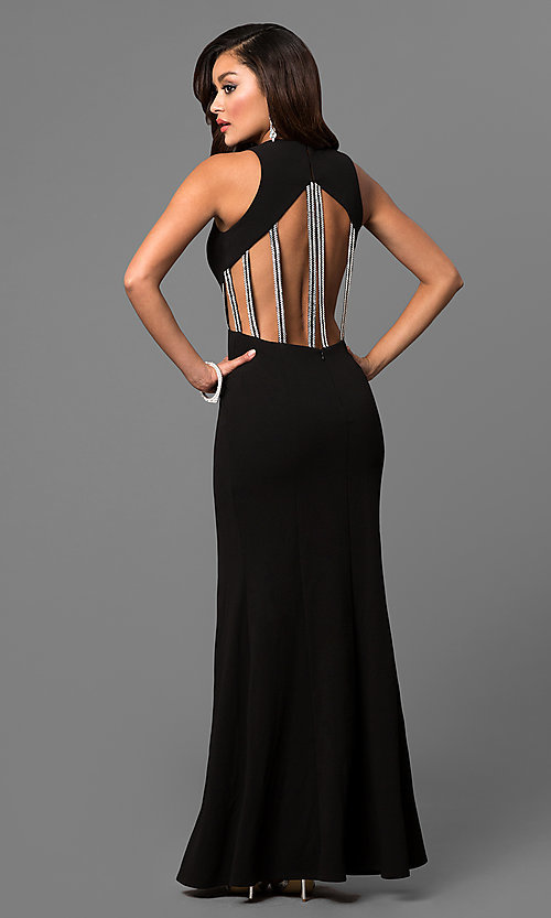 Image of black junior prom dress with jeweled straps. Style: DMO-J315486 Back Image