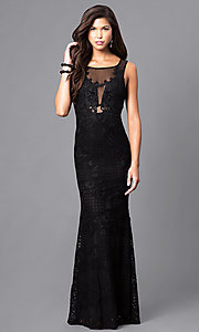 Long Sleeveless Lace Prom Dress