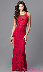 Image of long sleeveless lace prom dress. Style: LP-23362 Detail Image 3