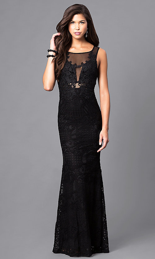 Image of long sleeveless lace prom dress. Style: LP-23362 Front Image