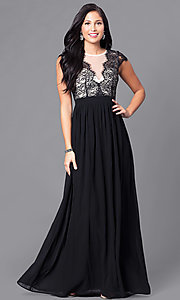 Lace-Bodice Prom Dress with Illusion V-Neck