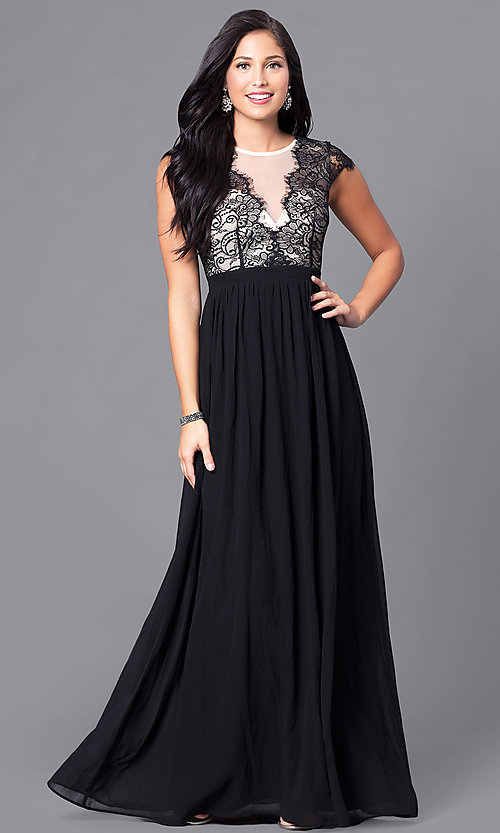 Image of lace-bodice prom dress with illusion v-neck. Style: LP-23470 Front Image