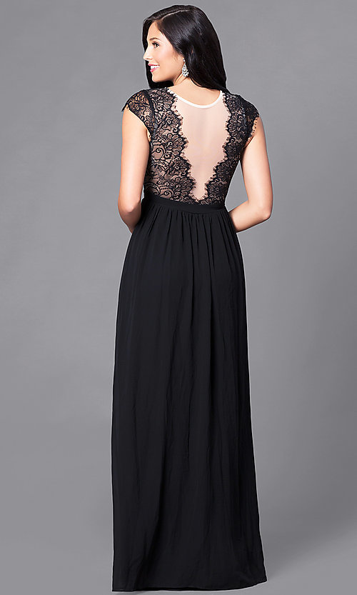 Image of lace-bodice prom dress with illusion v-neck. Style: LP-23470 Back Image