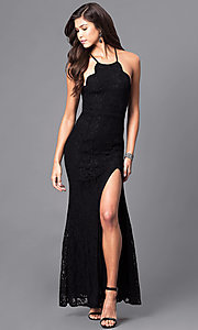 Image of long lace prom dress with spaghetti straps. Style: LP-23551 Front Image
