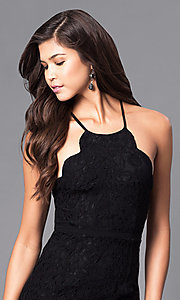 Image of long lace prom dress with spaghetti straps. Style: LP-23551 Detail Image 1