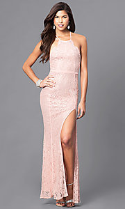Image of long lace prom dress with spaghetti straps. Style: LP-23551 Detail Image 2