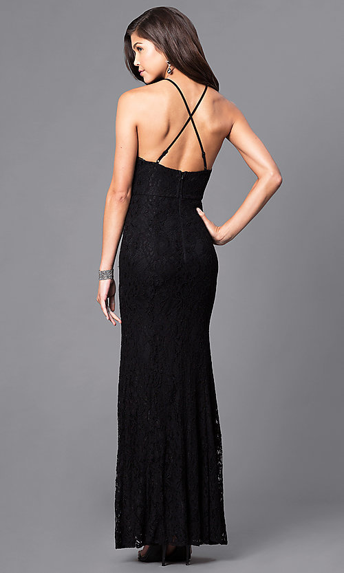 Image of long lace prom dress with spaghetti straps. Style: LP-23551 Back Image