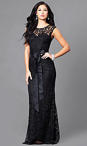 Image of long lace prom dress with ribbon sash belt. Style: LP-23616 Detail Image 1