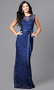 Image of long lace prom dress with ribbon sash belt. Style: LP-23616 Detail Image 2