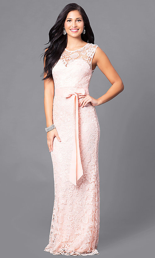 Image of long lace prom dress with ribbon sash belt. Style: LP-23616 Front Image
