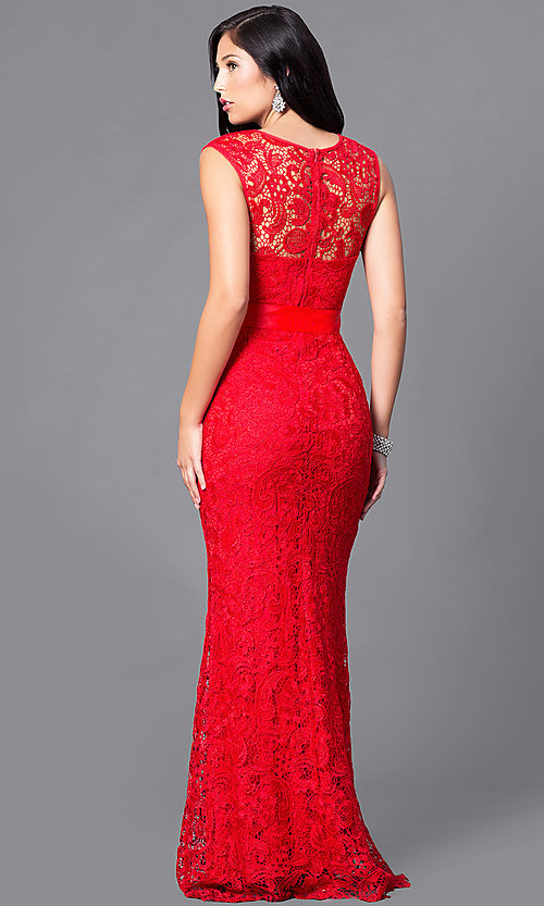 Image of long lace prom dress with ribbon sash belt. Style: LP-23616 Back Image