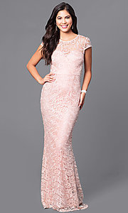 Long Lace Prom Dress with Cap Sleeves and Train