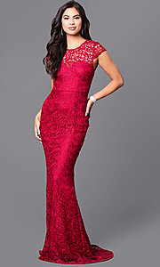 Lace Prom Dress with Cap Sleeves and Trian
