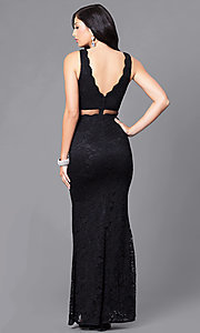 Image of long mock two-piece prom dress with embroidered lace. Style: LP-23842 Back Image