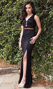 Image of long mock two-piece prom dress with embroidered lace. Style: LP-23842 Front Image
