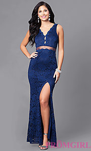 Image of long mock two-piece prom dress with embroidered lace. Style: LP-23842 Detail Image 1