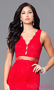 Image of long mock two-piece prom dress with embroidered lace. Style: LP-23842 Detail Image 3