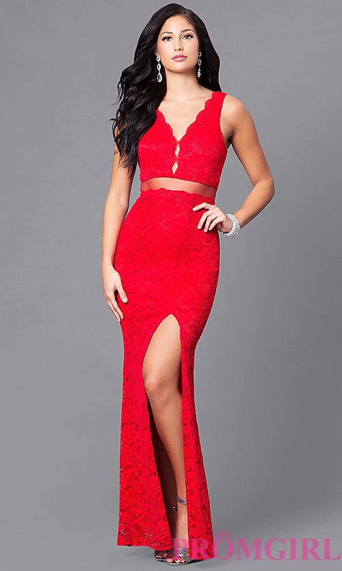 Image of long mock two-piece prom dress with embroidered lace. Style: LP-23842 Detail Image 2