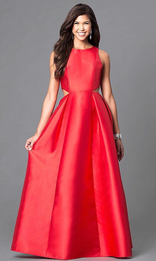 Image of long satin prom dress with back and side cutouts. Style: LP-23856 Front Image