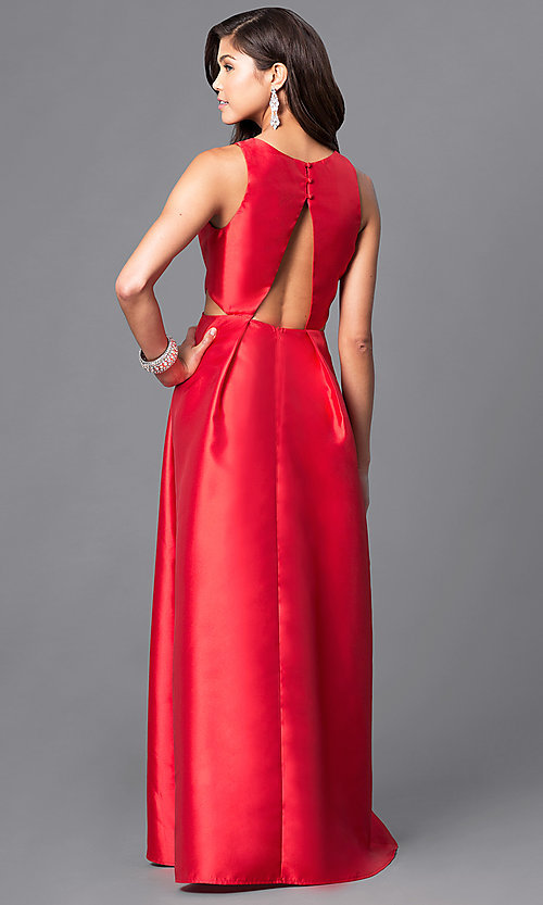 Image of long satin prom dress with back and side cutouts. Style: LP-23856 Back Image
