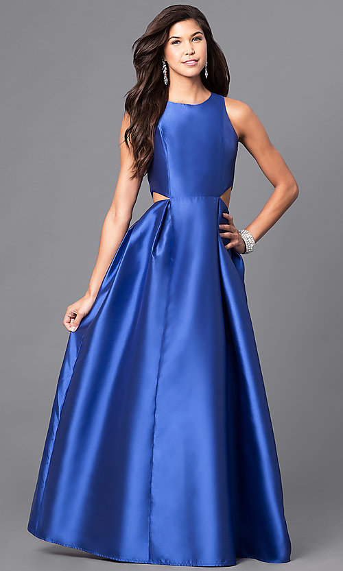 Image of long satin prom dress with back and side cutouts. Style: LP-23856 Detail Image 1
