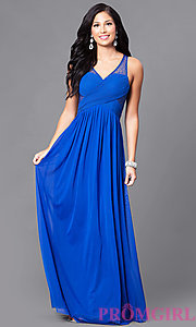 Image of long prom dress with surplice v-neck ruched bodice. Style: LP-23867 Detail Image 2