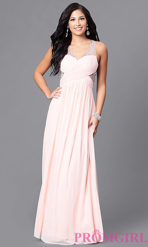 Image of long prom dress with surplice v-neck ruched bodice. Style: LP-23867 Front Image