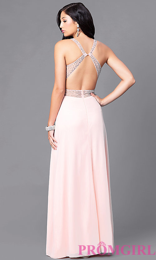 Image of long prom dress with surplice v-neck ruched bodice. Style: LP-23867 Back Image