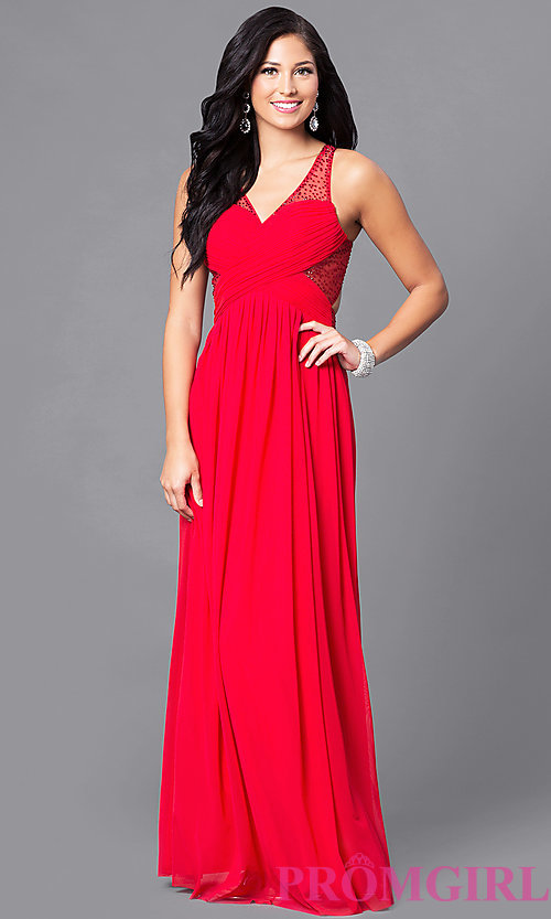 Image of long prom dress with surplice v-neck ruched bodice. Style: LP-23867 Detail Image 1