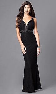 Empire-Waist V-Neck Lace Prom Dress with Beads