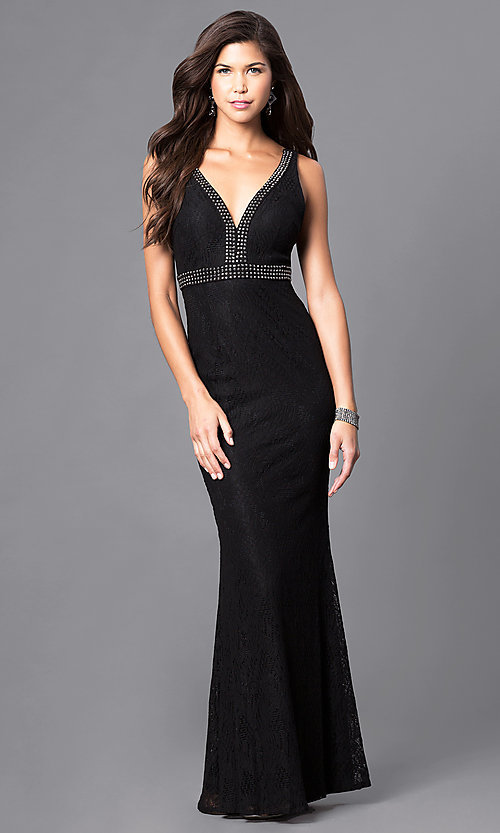 Image of empire-waist v-neck lace prom dress with beads. Style: LP-23941 Front Image