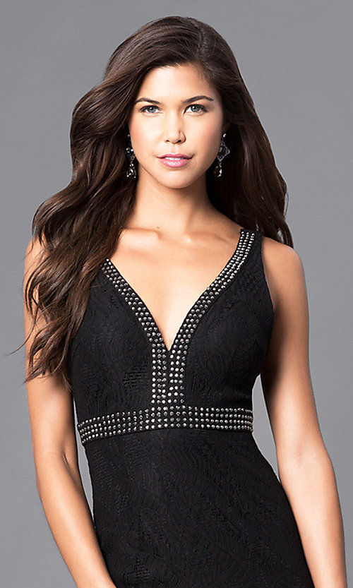 Image of empire-waist v-neck lace prom dress with beads. Style: LP-23941 Detail Image 1