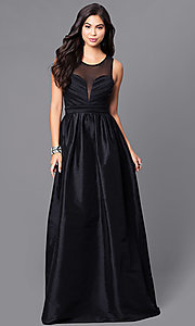 Image of long black satin prom dress with illusion back. Style: LP-23960 Front Image