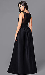 Image of long black satin prom dress with illusion back. Style: LP-23960 Back Image