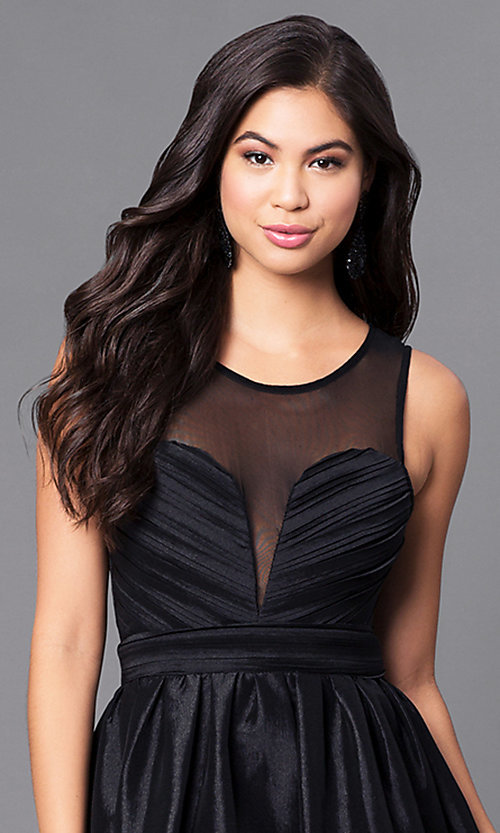 Image of long black satin prom dress with illusion back. Style: LP-23960 Detail Image 1