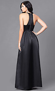 Image of high-neck prom dress with floor-length skirt. Style: LP-23993 Back Image
