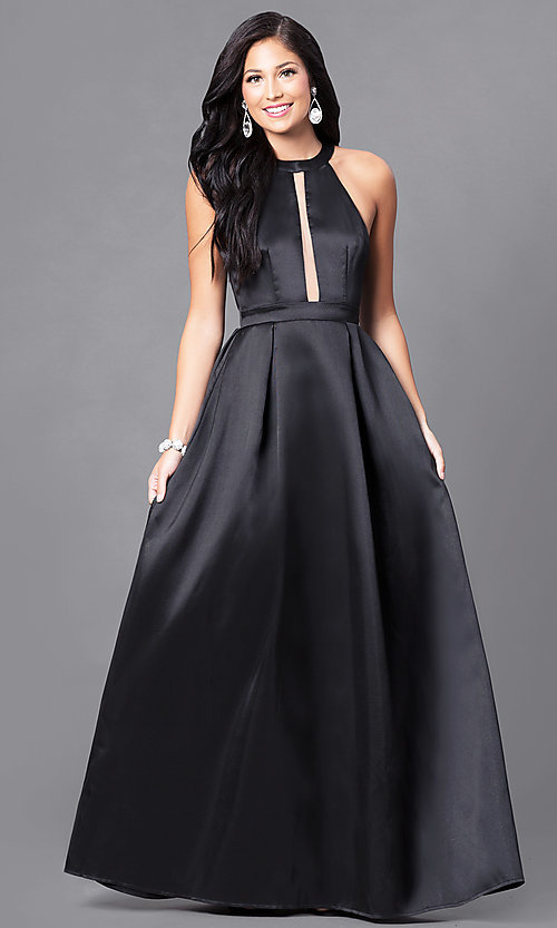 Image of high-neck prom dress with floor-length skirt. Style: LP-23993 Detail Image 1