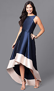 High-Low Satin Prom Dress with Contrasting Hemline