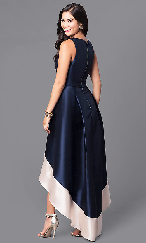 Image of high-low satin prom dress with contrasting hemline. Style: LP-24025 Back Image