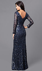Image of v-back sequin long prom dress with sheer sleeves. Style: LP-24087 Back Image