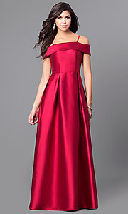 Off-the-Shoulder Long Prom Dress with Thin Straps