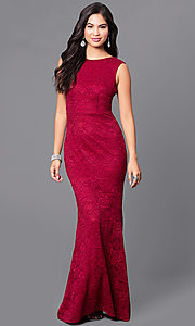 Image of long burgundy lace prom dress with v-back. Style: LP-24204 Front Image