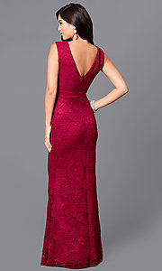 Image of long burgundy lace prom dress with v-back. Style: LP-24204 Back Image