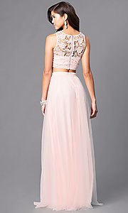 Image of long two-piece prom dress with lace bodice. Style: LP-90014 Back Image