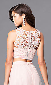 Image of long two-piece prom dress with lace bodice. Style: LP-90014 Detail Image 3
